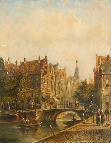 Jan Jacob Spohler (Dutch, 1811-1866) A Dutch canal scene