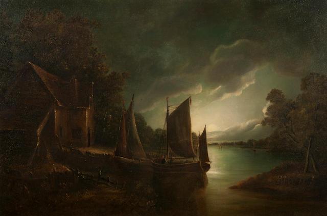 John Berney Crome (British, 1794-1842) Moonlit riverscape