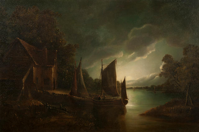 John Berney Crome (British, 1794-1842) Moonlit riverscape