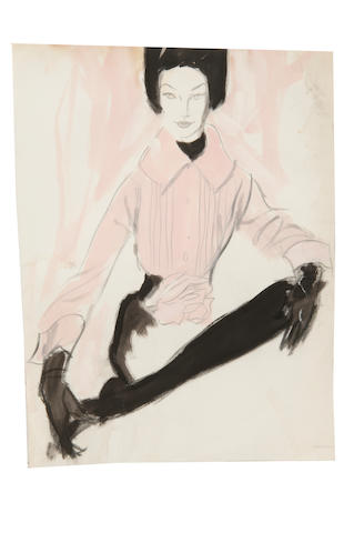 Brian Julian Stonehouse, M.B.E. (1918-1998) Lady in a pink blouse and gloves