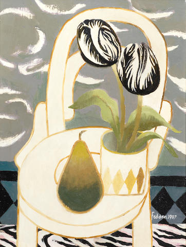 Mary Fedden R.A. (British, 1915-2012) Black Tulip 40.5 x 30.4 cm. (16 x 12 in.)