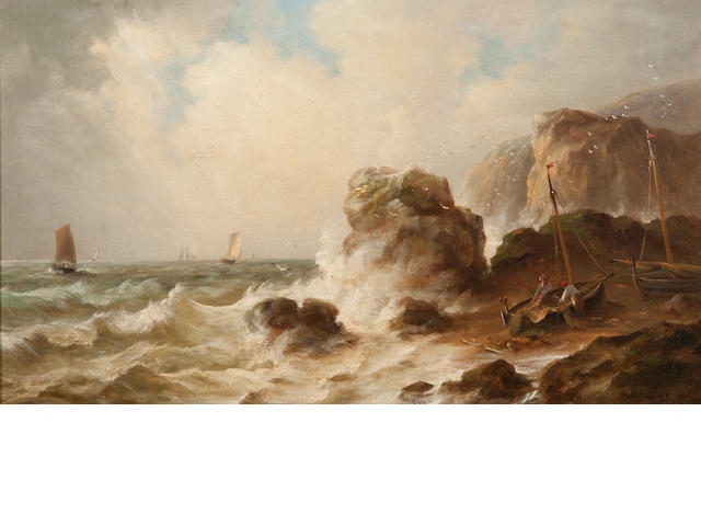 John Moore of Ipswich (British, 1820-1902) Northumbrian Coast scene with stormy seas