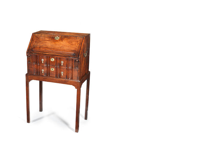 A Chinese export padouk small bureau on stand