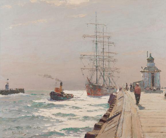 Rowland Fisher (British, 1885-1969) Tall ship and tug off Gorleston Pier