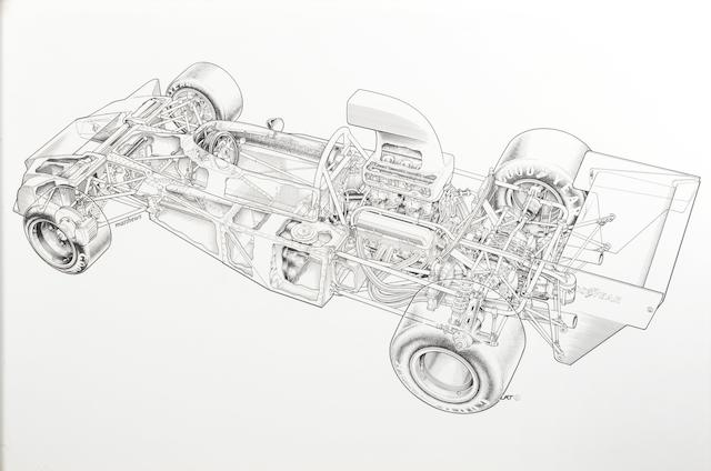Tony Matthews: F5000 Trojan 102 cut-away illustration,