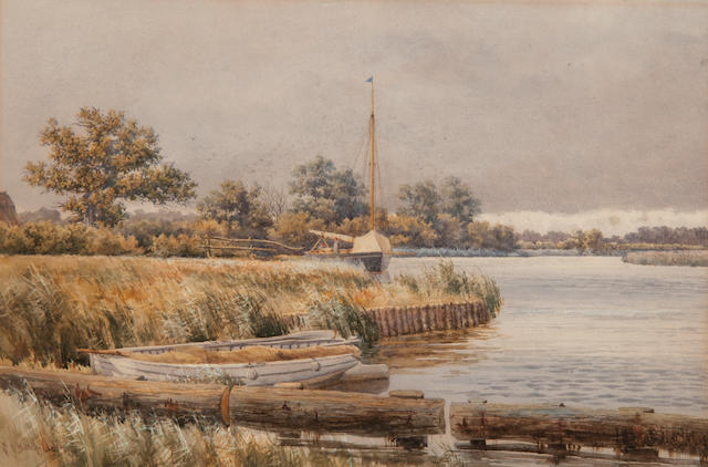 Stephen John Batchelder (British, 1849-1932) Boats on the Broads