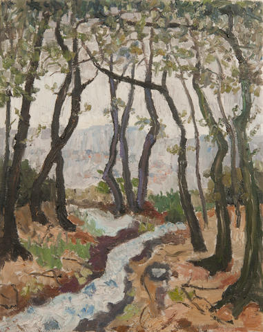 Lucy Harwood (British, 1893-1972) Stream through a grove