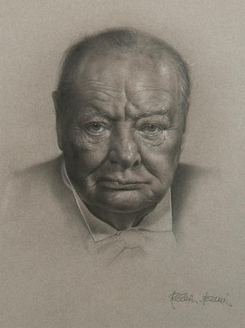Robin Elvin (born 1957) Portrait of Sir Winston Churchill
