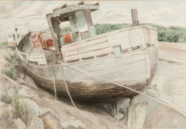 Richard Bawden (British, 1936) 'Old boat at Rowhedge'