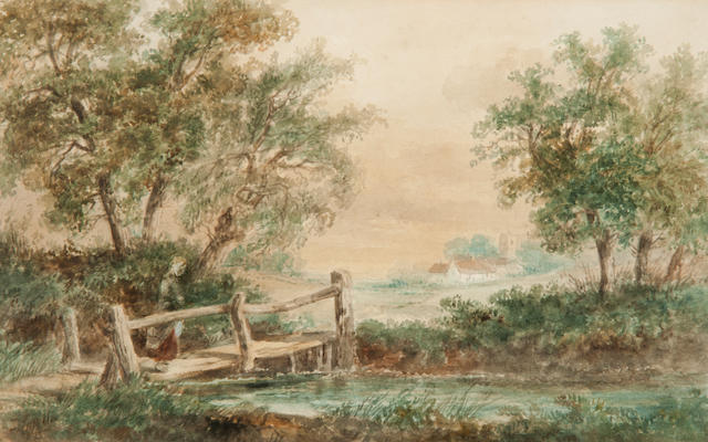 Thomas Smythe (British, 1825-1906) Figures before a cottage; Figure on a bridge