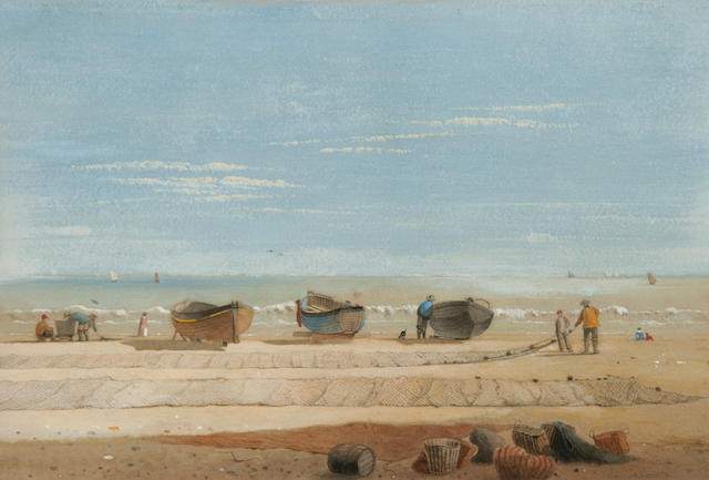 Samuel Dukinfield Swarbreck (British, exh. 1852-1863) 'Great Yarmouth beach after a gale', 'Drifted sand', 'Near Forres', 'On Great Yarmouth Beach': A set of four