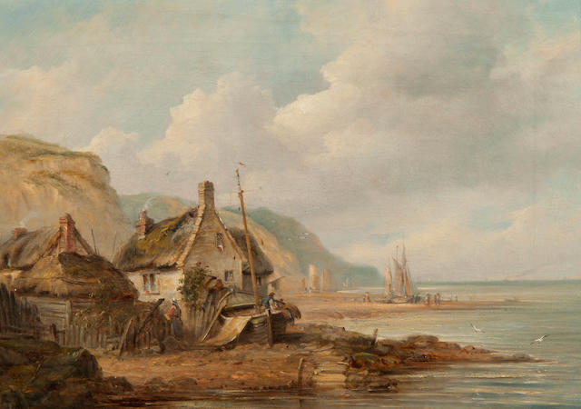 John Moore of Ipswich (British, 1820-1902) Figures and cotage on the beach at Sidmouth