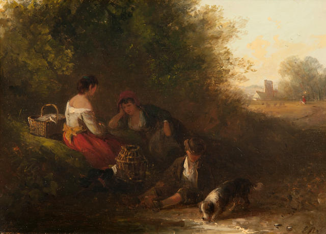Edward Robert Smythe (British, 1810-1899) Family and dog resting beside a stream