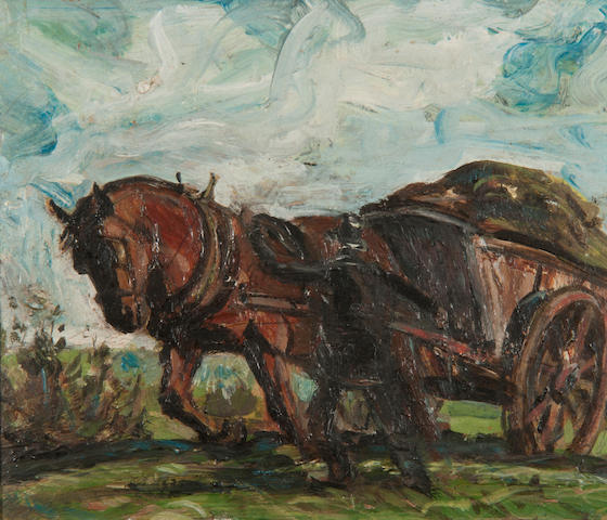 Harry Becker (British, 1865-1928) Horse and cart being led by a horseman