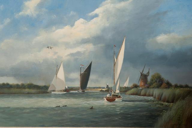 Colin W. Burns (British, born 1944) 'The Bure near Oby Mill'