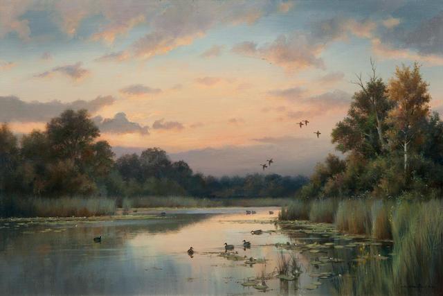 Colin W. Burns (British, born 1944) Sunset on the Broads