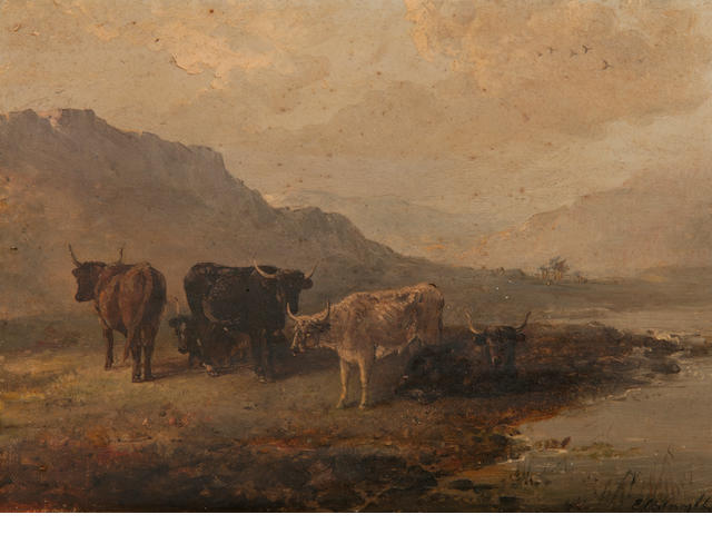 Edward Robert Smythe (British, 1810-1899) Cattle in a highland landscape