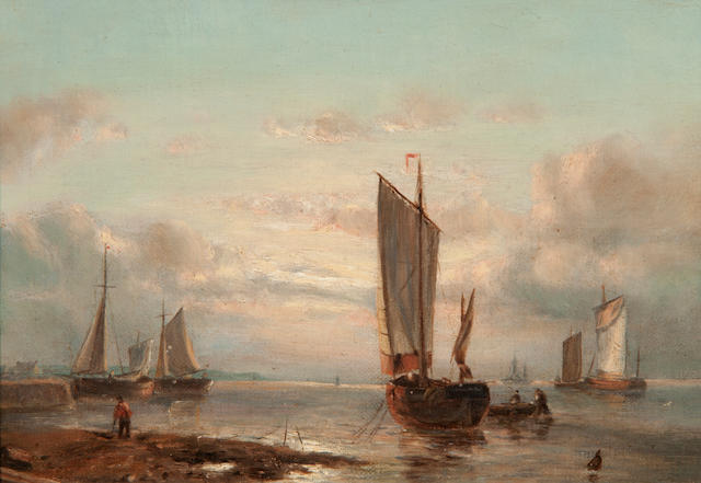 John Moore of Ipswich (British, 1820-1902) Harbour scene with figures