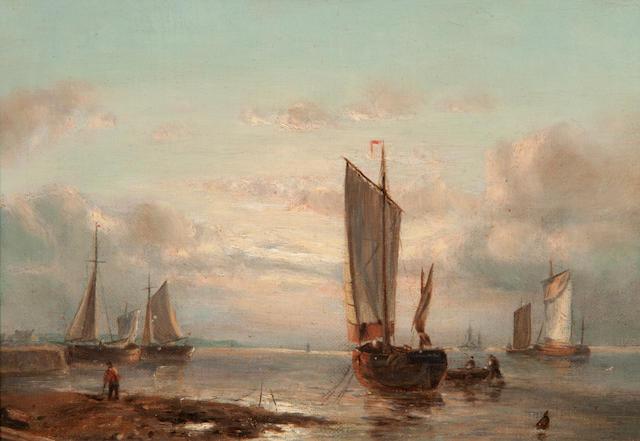 John Moore of Ipswich (British, 1820-1902) Harbour scene with figures