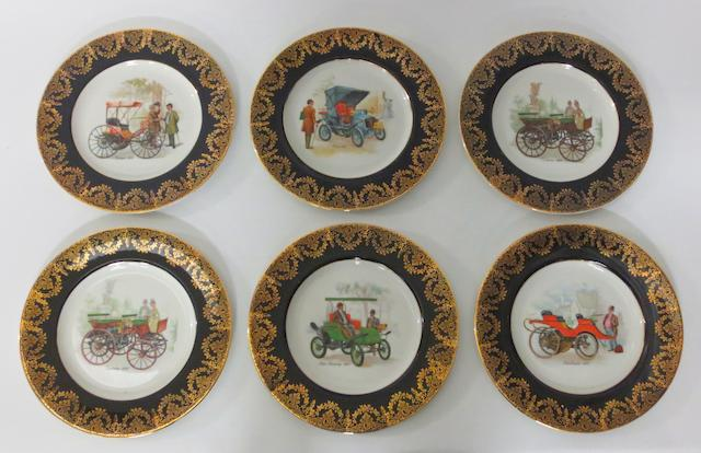 Six motoring themed china plates,
