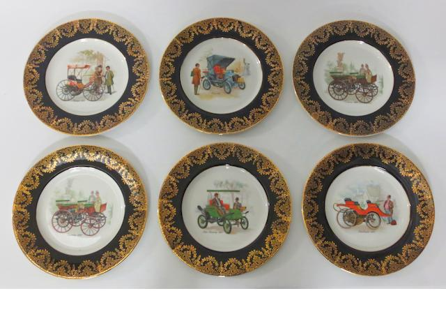 A set of six motoring themed china plates,