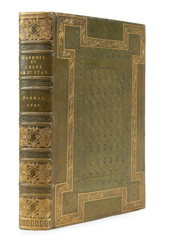 LONGUS. Gli amori pastorali di Dafni e di Cloe, [and in Greek], 2 works in one, Parma, Bodoni, 1786