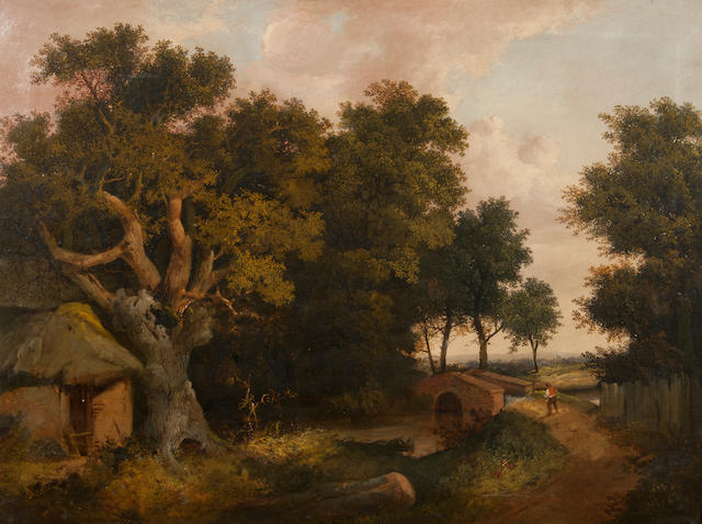 Circle of John Berney Ladbrooke (British, 1803-1879) Figure beside a bridge in a wooded landscape