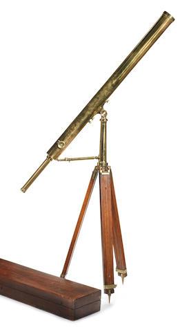 Davis brass telescope on tripod, cased