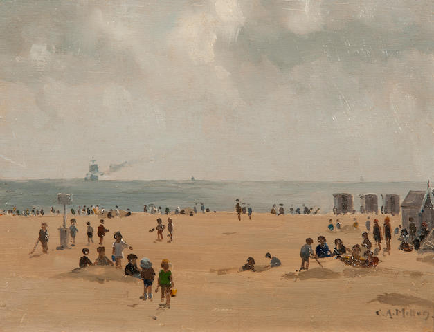 Campbell Archibald Mellon (British, 1876-1955) Building sandcastles, Gorleston beach