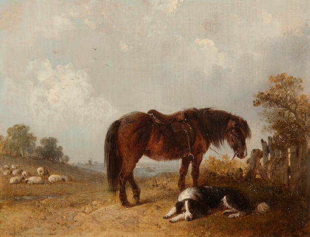 Edward Robert Smythe (British, 1810-1899) Dog and horse in a landscape