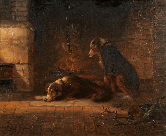 Thomas Smythe (British, 1825-1906) Interior scene with dogs beside a fire