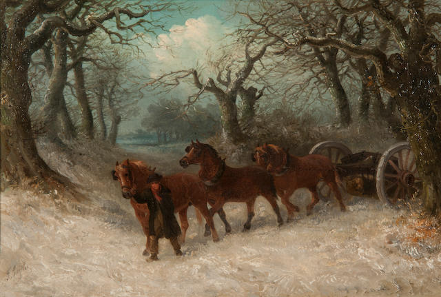 Thomas Smythe (British, 1825-1906) The log drag The log drag
