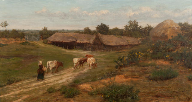 Henry Robert Robertson (British, 1839-1921) Cattle heading home to a farmstead oil on canvas