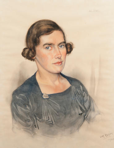 Cor Visser (Dutch, 1903-1982) Portrait of Aline Williamson signed and dated 'Cor Visser 1938' (lower right), inscribed 'Aline', watercolour Portrait of Aline Williamson signed and dated 'Cor Visser 1938' (lower right), inscribed 'Aline', watercolour