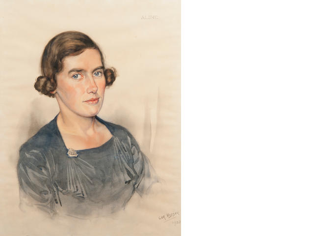 Cor Visser (Dutch, 1903-1982) Portrait of Aline Williamson signed and dated 'Cor Visser 1938' (lower right), inscribed 'Aline', watercolour