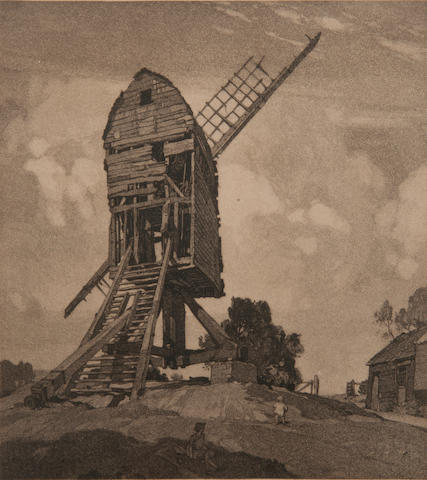 Leonard Russell Squirrell, R.W.S., R.I., R.E. (British, 1893-1979) 'Fletcher's Mill, Wrentham, Suffolk' inscribed as titled and signed to border, aquatint  30 x 28cm (11 13/16 x 11in). together with a Leonard Squirrell etching of Carter's Mill, Wrentham, inscribed and numbered 4/40; and a drypoint etching of a mill, signed and dated 'Leonad Squirrell, 1914. (3)
