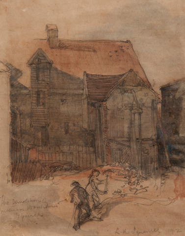 Leonard Russell Squirrell, R.W.S., R.I., R.E. (British, 1893-1979) 'The demolition of Mortimer's Warehouses, Ipswich' inscribed as titled, signed and dated 'L. R. Squirrell 1912' (lower right), pencil and wash  19 x 15cm (7 1/2 x 5 7/8in). together with five etchings by the same hand, comprising 'Shalford Eseex 1914'; 'A Bridge at Alnwick'; an estuary scene and a castle; 'The Christmas Guests'. (6)
