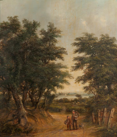 Robert Burrows (1819-1883) Figures on Gainsborough Lane with Freston Tower beyond