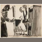 Josef Herman (British, 1911-1999) Woman and goose