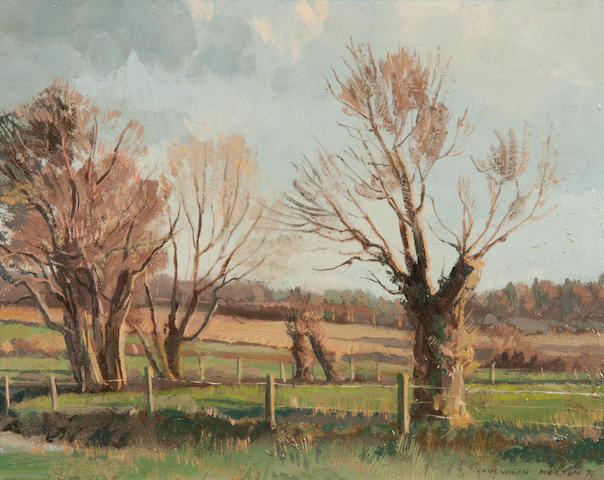 Cavendish Morton (British, born 1911) 'Trees by a brook, Earl Stonham'