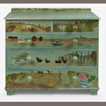 Tessa Newcomb (British, born 1955) A painted pine chest of drawers 52 x 99 x 104cm (20 1/4 x 39 x 40 15/16in).