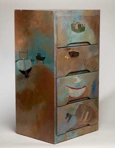 Tessa Newcomb (British, born 1955) A painted four-drawer chest 44 x 77 x 34cm (17 5/16 x 30 5/16 x 13 3/4in).