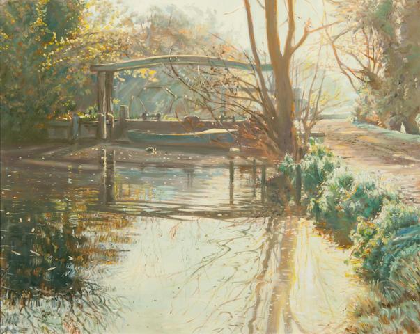 Margaret Glass (British, born 1950) Lock at Flatford Mill