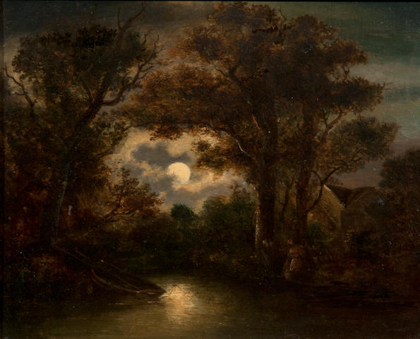 William Henry Crome (British, 1806-1873) Moonlit river scene