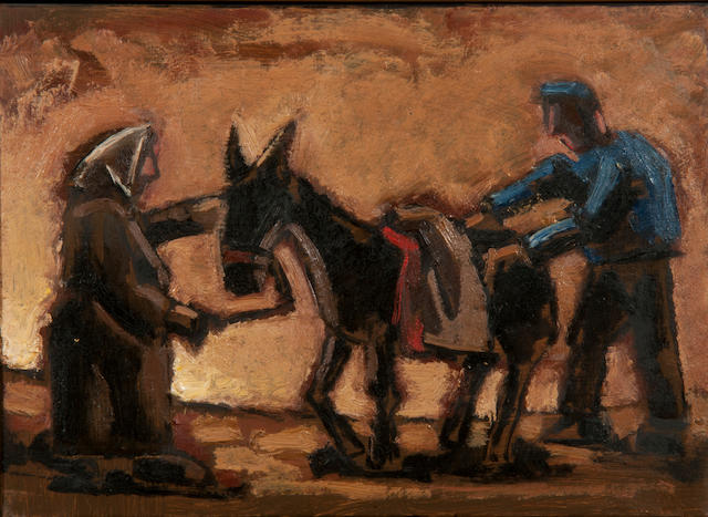 Josef Herman (British, 1911-1999) Peasant Couple with Donkey