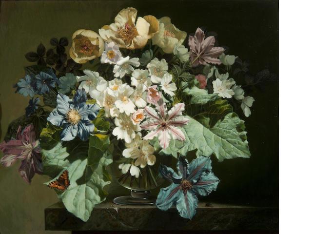 Bennett Oates (British, 1928-2009) Flowers and Tortoiseshell Butterfly
