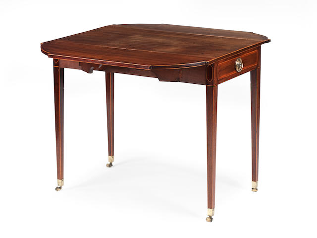 A George III  mahogany, cross-banded and line inlaid  Pembroke table