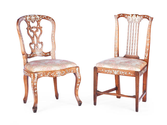 Two Italian 19th century walnut and ivory inlaid chairs