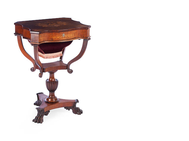 A continental 19th century  walnut and floral marquetry work table