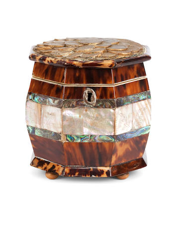 A 19th century tortoiseshell, engraved ivory and abalone shell veneered octagonal tea caddy